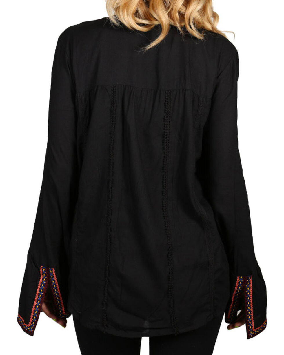 Rock & Roll Cowgirl Women's Embroidered Peasant Blouse, Black, hi-res