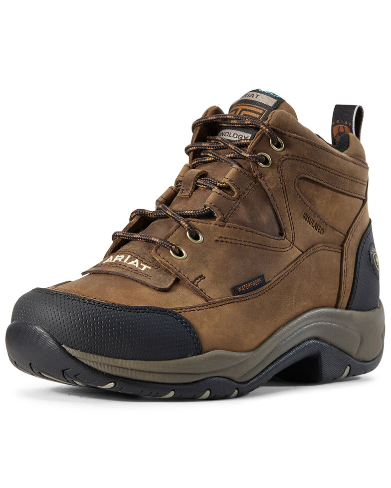 Ariat Women's Terrain Waterproof Work Boots - Soft Toe, Brown, hi-res