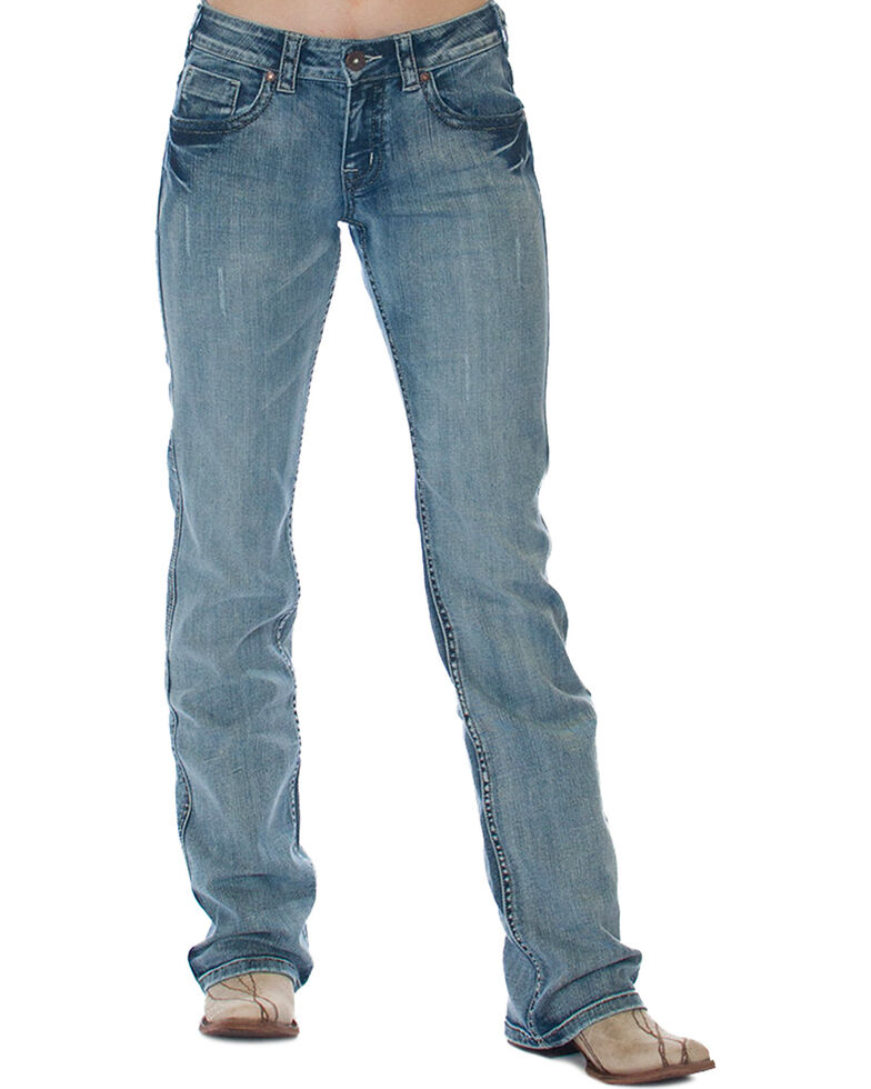 Cowgirl Tuff Women's Blue Lucky Western Jeans - Boot Cut , Blue, hi-res