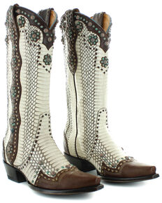 Old Gringo Women's Cheryl Natural Rattlesnake Western Boots - Snip Toe, White, hi-res