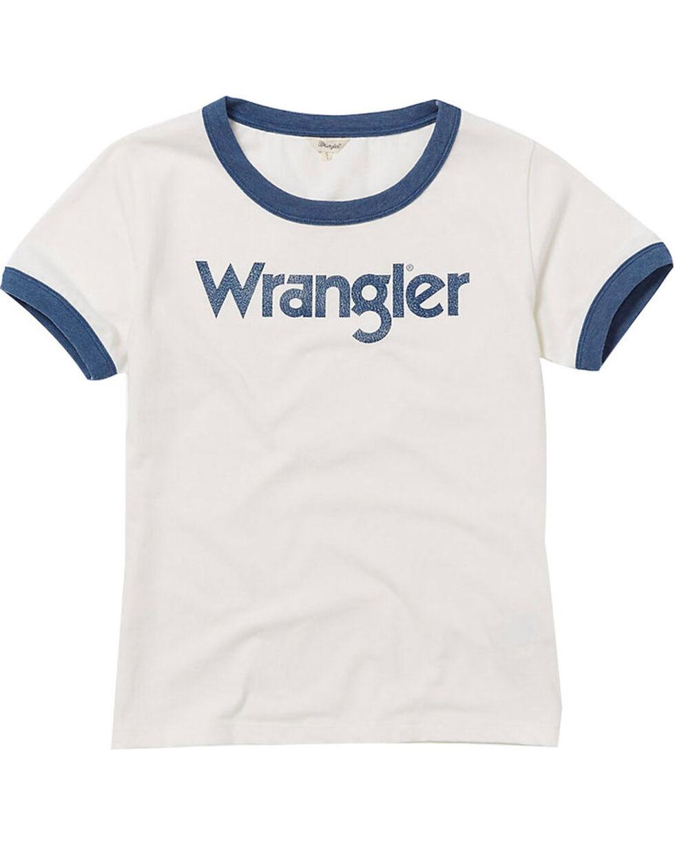 Wrangler Women's 70th Anniversary Retro Logo Ringer Tee, Navy, hi-res