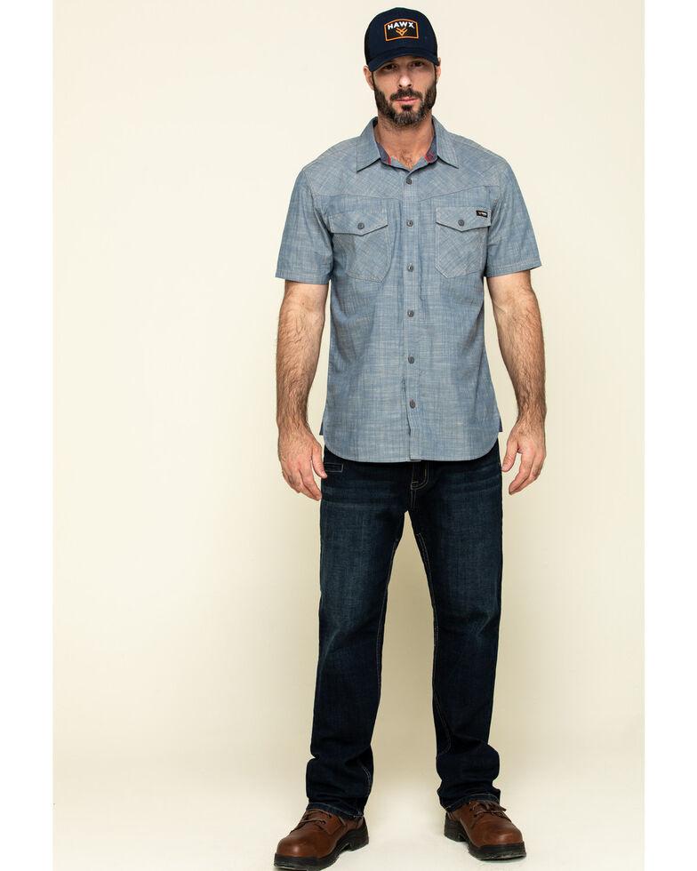 Hawx Men's Rancho Chambray Solid Short Sleeve Work Shirt , Blue, hi-res