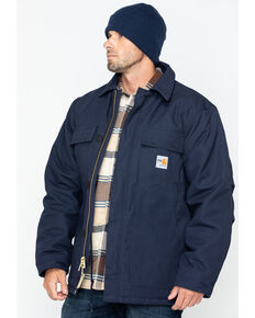 Carhartt Flame-Resistant Duck Traditional Coat - Big & Tall, Navy, hi-res