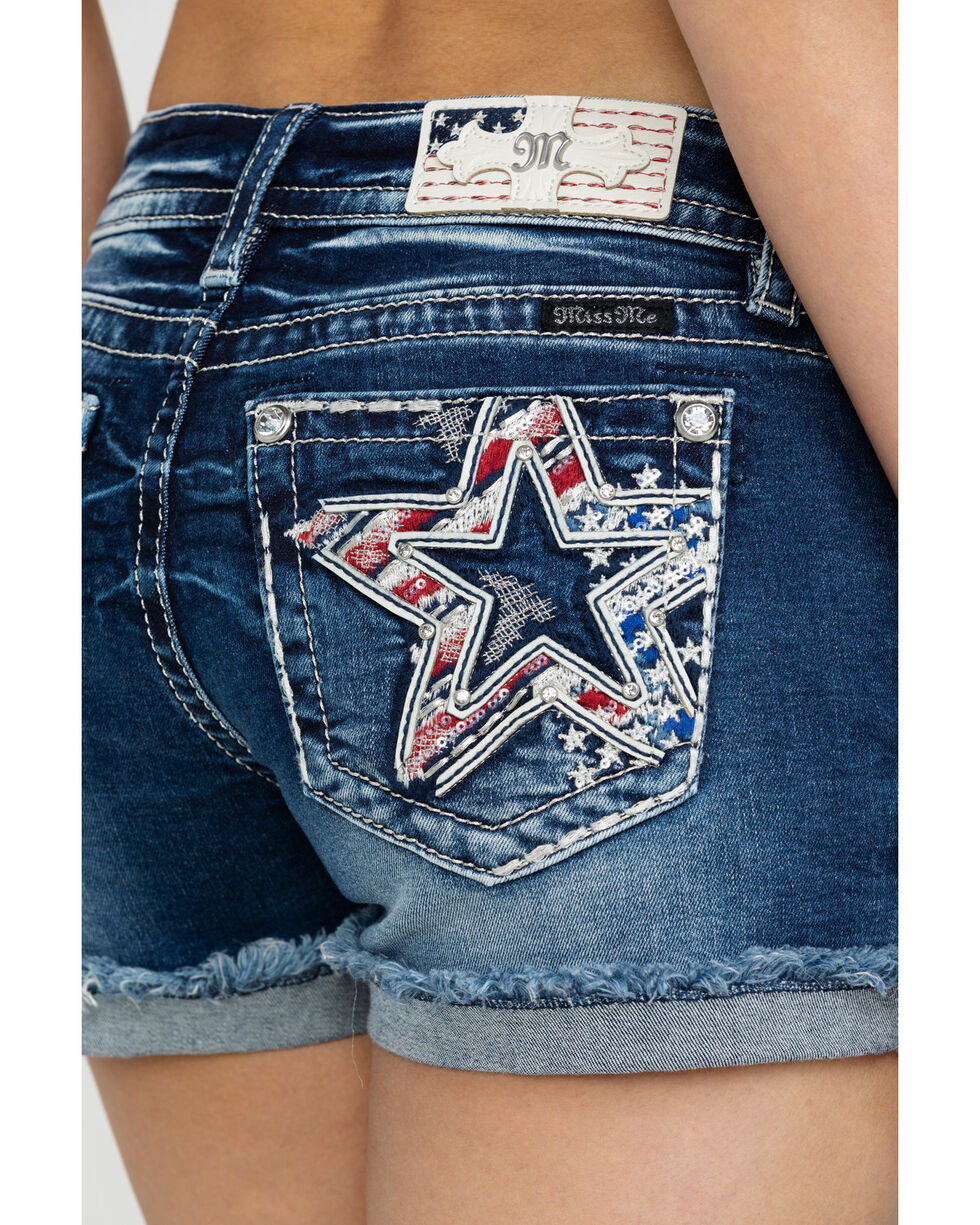 Miss Me Women's Patriotic Star Rolled Shorts, Blue, hi-res