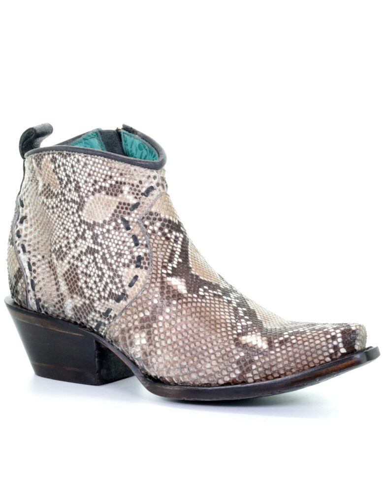 Corral Women's Natural Python Fashion Booties - Snip Toe, Brown, hi-res