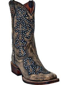 Dan Post Women's Studded Cross Cowboy Certified Boots, Tan, hi-res