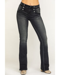 Rock & Roll Cowgirl Women's Charcoal Button Flare Jeans , Charcoal, hi-res