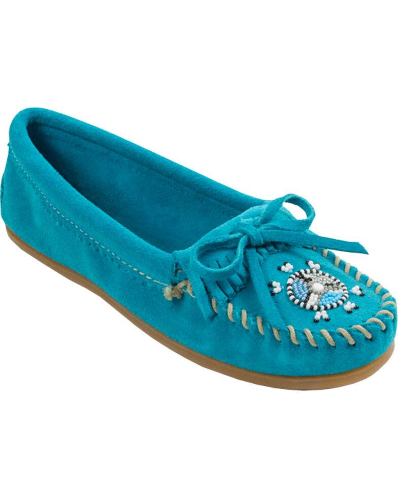 Minnetonka Women's Me To We Moccasins - Moc Toe, Turquoise, hi-res