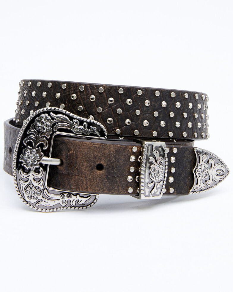 Shyanne Women's Dark Brown Stone Studded Belt, Dark Brown, hi-res