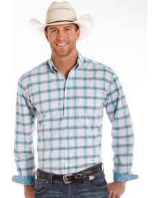 Rough Stock by Panhandle Men's Holden Vintage Ombre Plaid Shirt, White, hi-res
