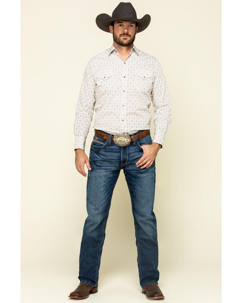 Ely Cattleman Men's Khaki Small Geo Print Long Sleeve Western Shirt , Beige/khaki, hi-res