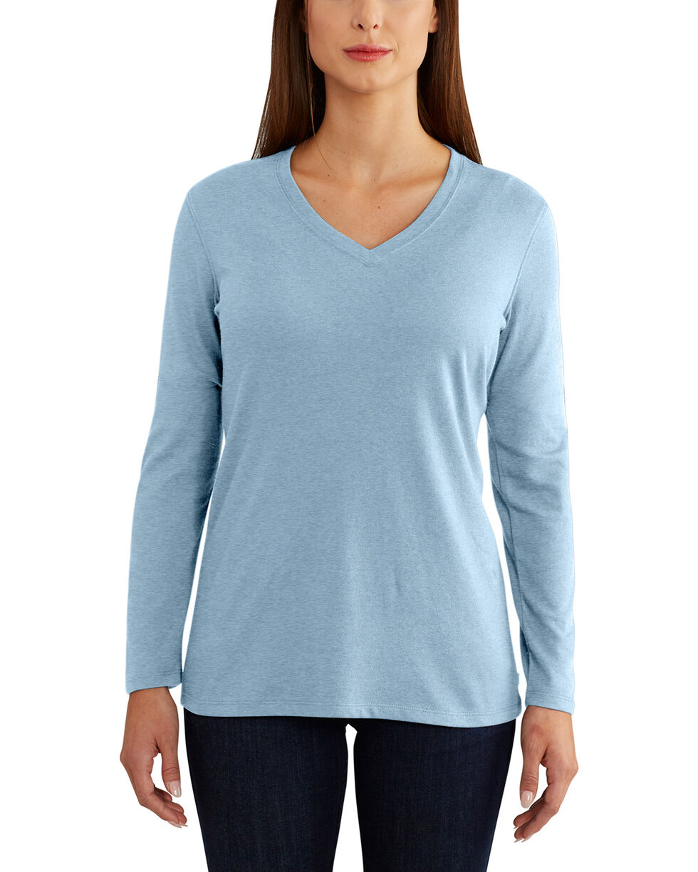 Carhartt Women's Brown Lockhart Long Sleeve V-Neck Shirt , Steel Blue, hi-res