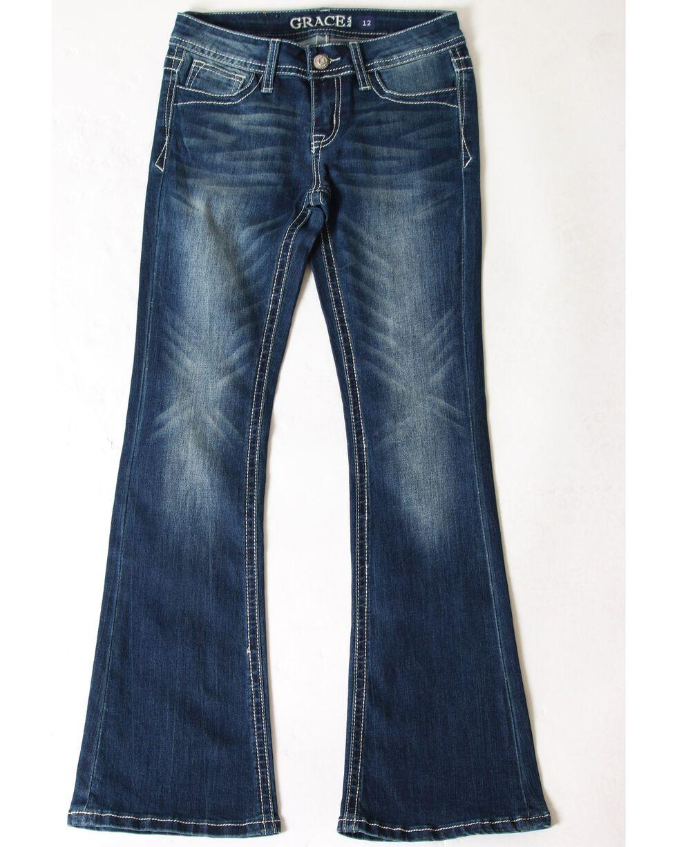 Grace In LA Girls' Aztec Pocket Embroidered Boot Jeans , Blue, hi-res