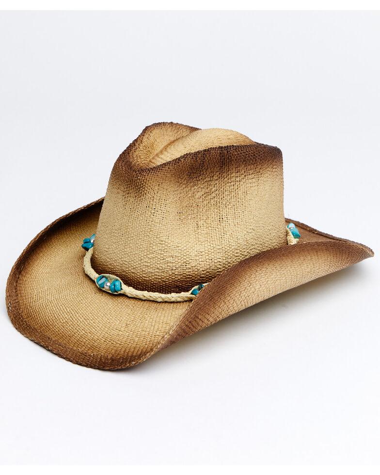 Shyanne Women's Tan Sagres Toyo Western Straw Hat , Tan, hi-res