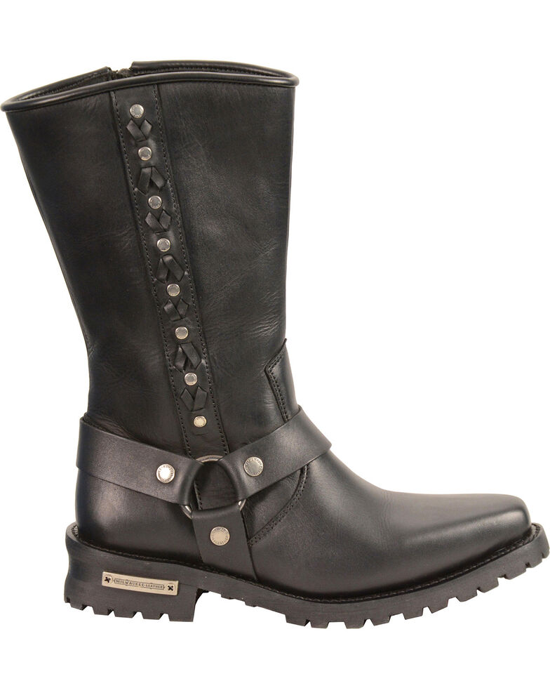 Milwaukee Leather Men's Braid & Rivet Harness Boots - Square Toe, Black, hi-res