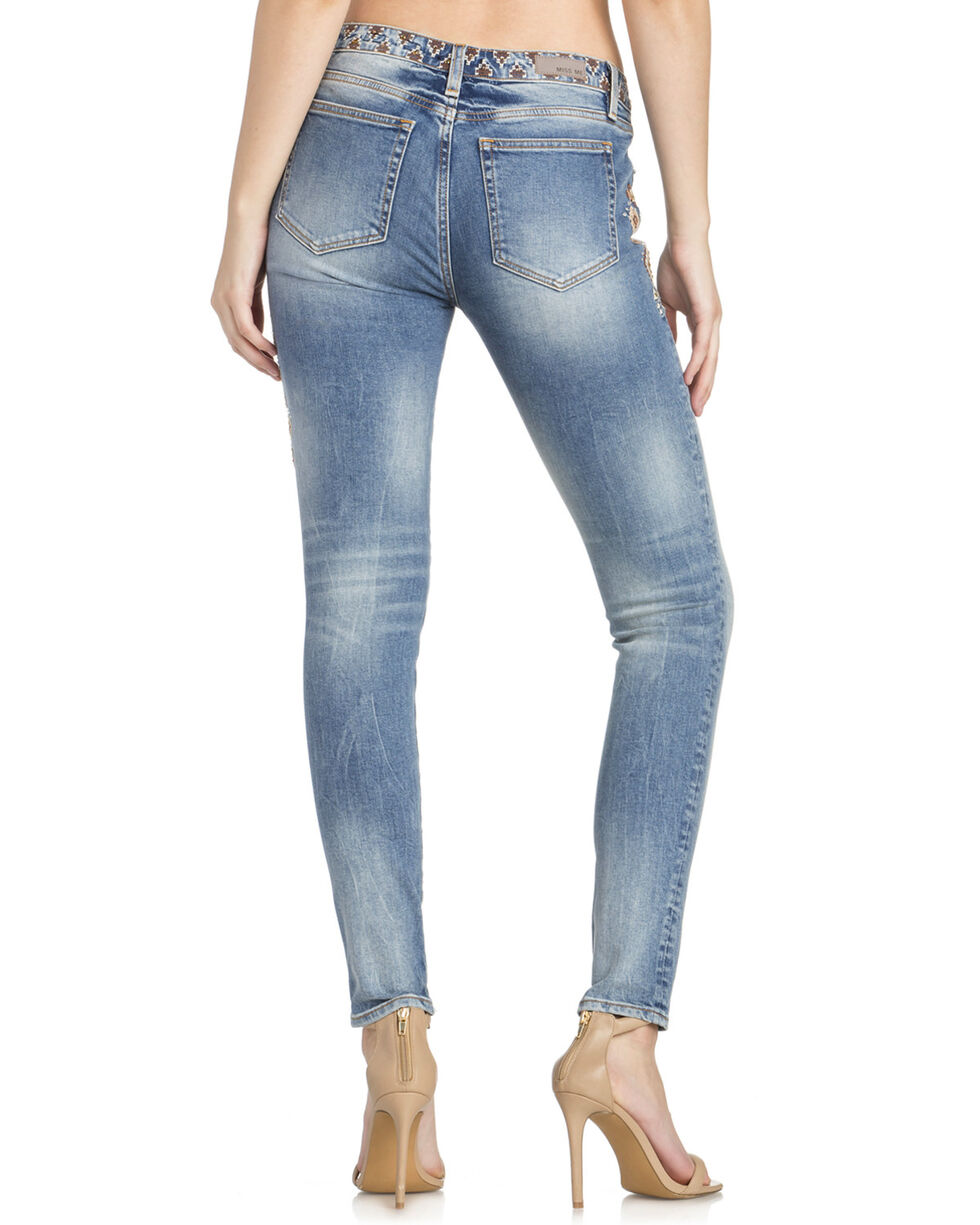 Miss Me Women's Aztec Embroidered Skinny Jeans , Indigo, hi-res