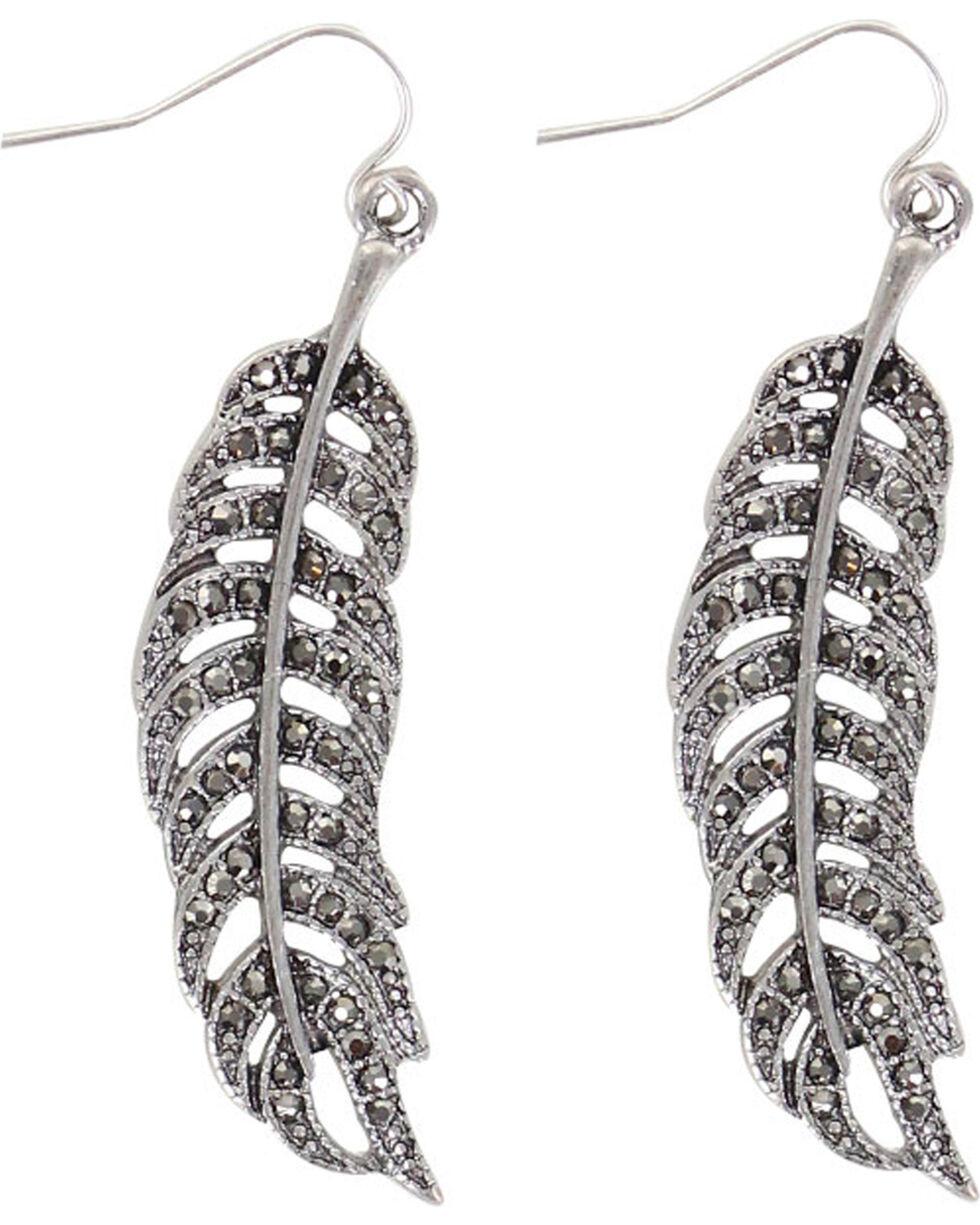 Shyanne® Women's Feather Dangle Earrings , Silver, hi-res