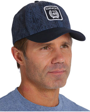Cinch Men's Mesh Print Logo Trucker Cap, Navy, hi-res