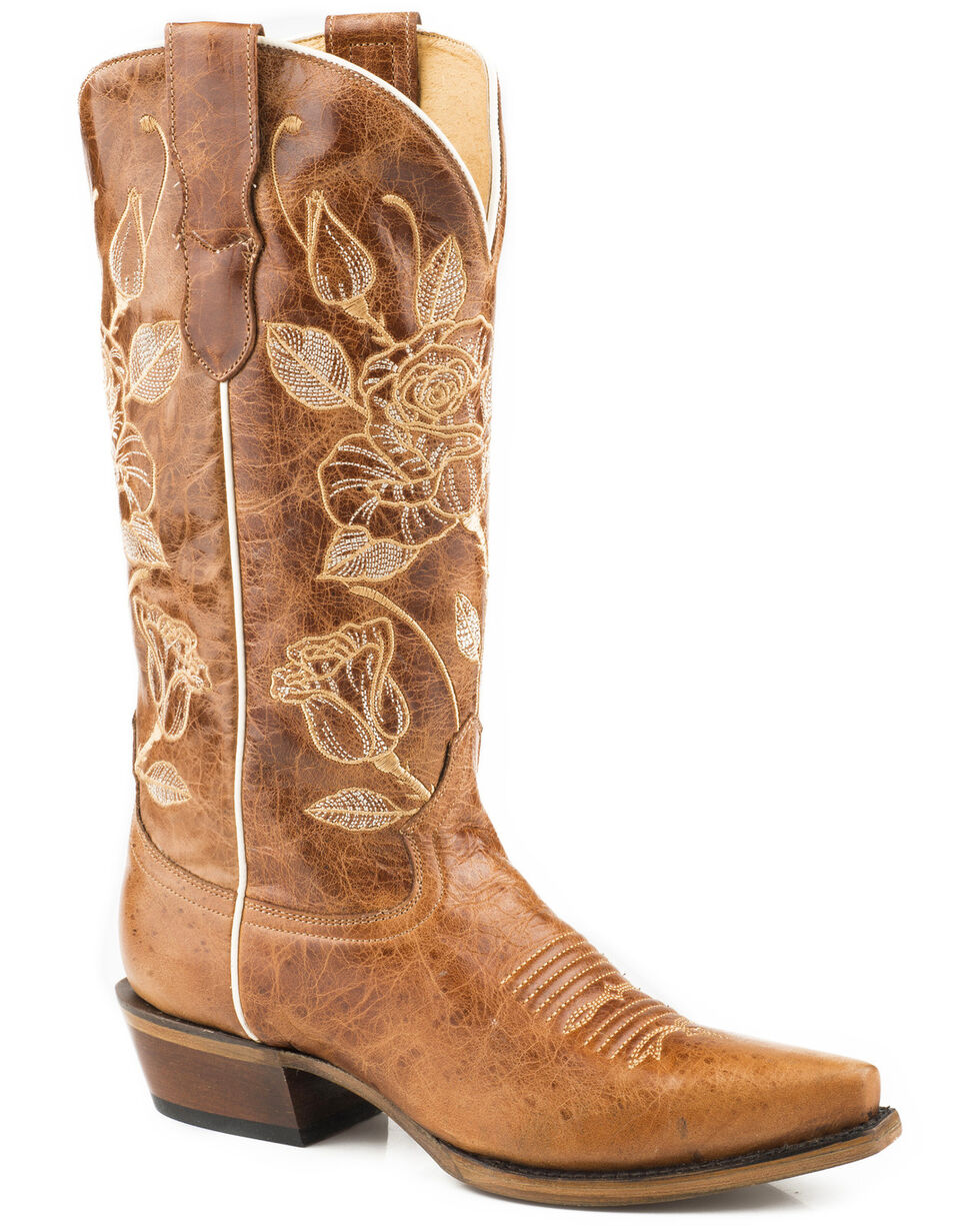 Roper Women's Desert Rose Embroidered Cowgirl Boots - Snip Toe, Brown, hi-res