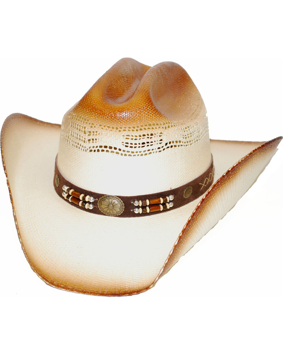 Western Express Youth Tan Gold Concho Straw Hat, Tan, hi-res