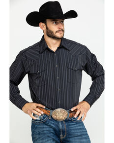 Rough Stock By Panhandle Men's Calistoga Striped Long Sleeve Western Shirt , Black, hi-res