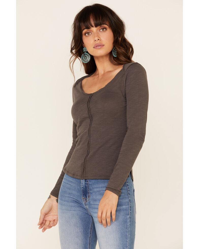 Shyanne Women's Seamed Detail Long Sleeve Tee , Charcoal, hi-res