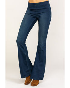 Free People Women's Dark Wash Flare Penny Pull On Jeans, Blue, hi-res