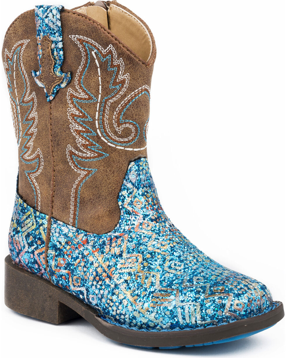 Roper Toddler Girls' Glitter Aztec Cowgirl Boots - Square Toe, Blue, hi-res