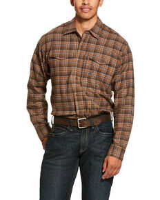 Ariat Men's Zane Plaid Rebar Flannel Durastretch Long Sleeve Work Shirt - Tall, Multi, hi-res