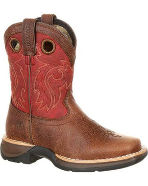 Lil' Rebel by Durango Boys' Brown Waterproof Boots - Square Toe , Brown, hi-res
