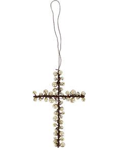 BB Ranch® Metal Wire & Pearl Cross Ornament, No Color, hi-res