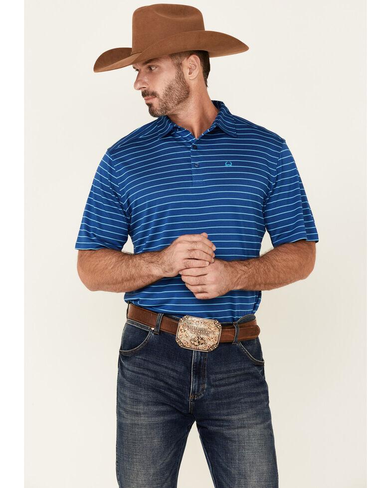 Cinch Men's Arena Flex Blue Stripe Short Sleeve Polo Shirt , Blue, hi-res