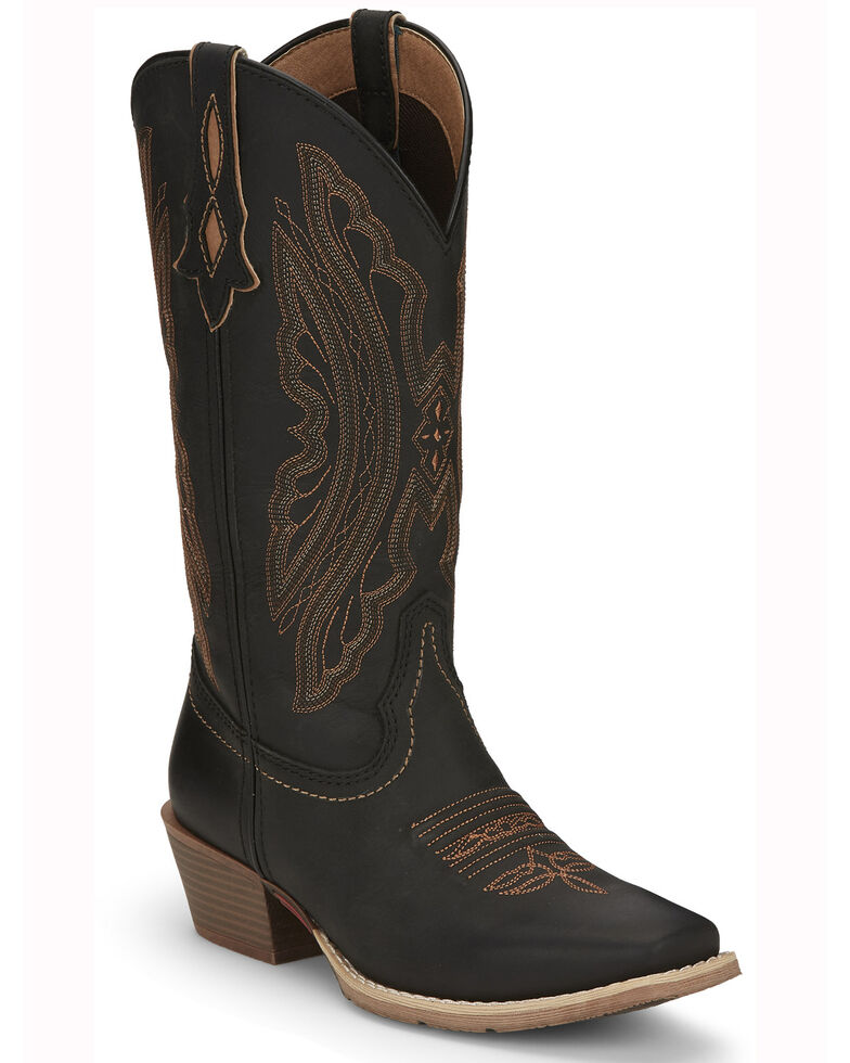 Justin Women's Rein Western Boots- Square Toe, Black, hi-res