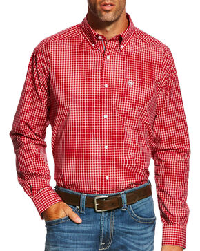 Ariat Men's Pro Series Gabriel Plaid Long Sleeve Button Down Shirt , Red, hi-res