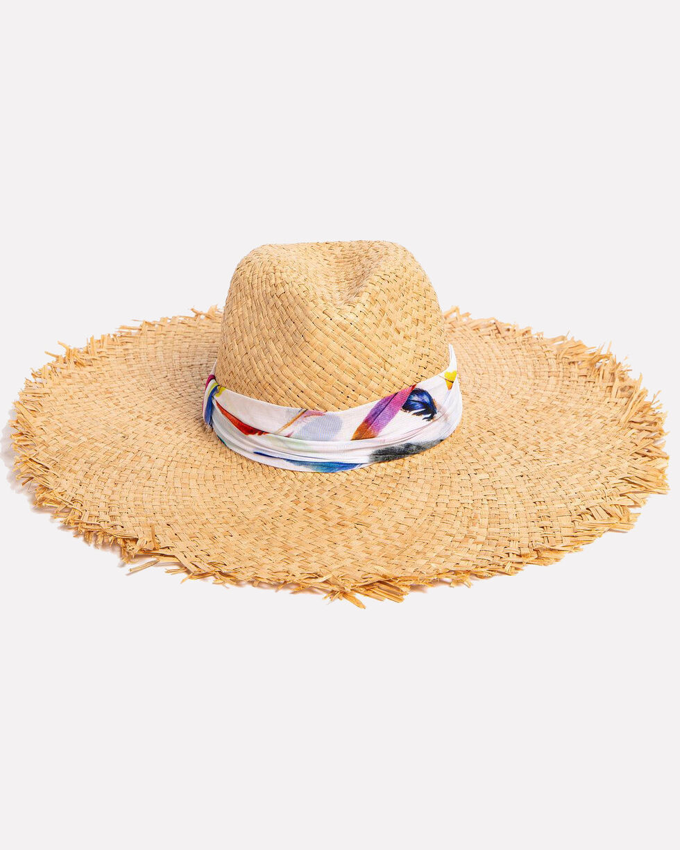 ále by Alessandra Women's Lulu Raffia Fringe Hat, Natural, hi-res