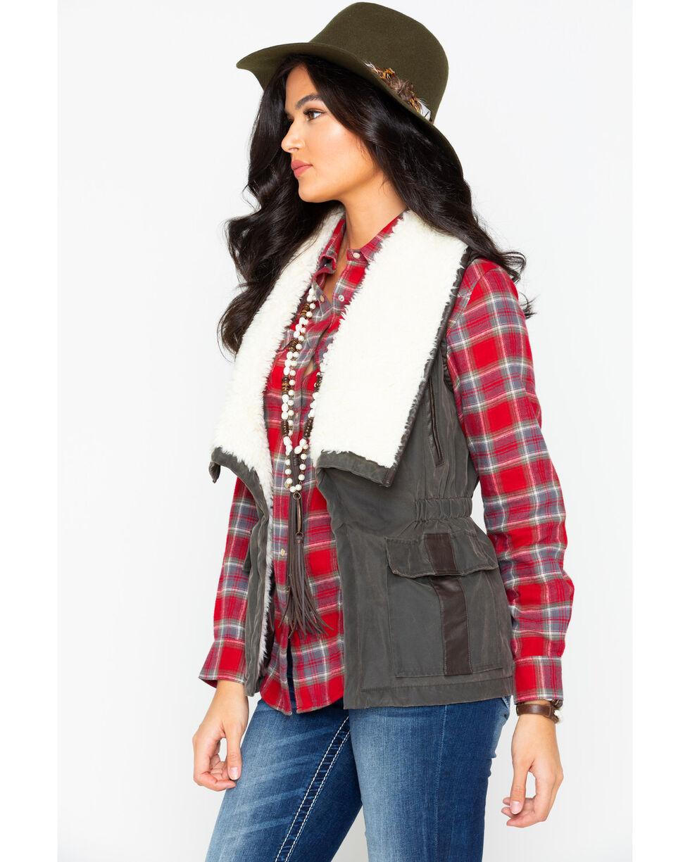 Cripple Creek Women's Open Front Faux Fur Vest  , Dark Green, hi-res
