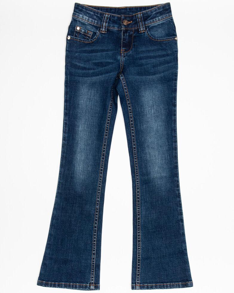 Shyanne Girls' Medium Floral Bootcut Jeans, Blue, hi-res