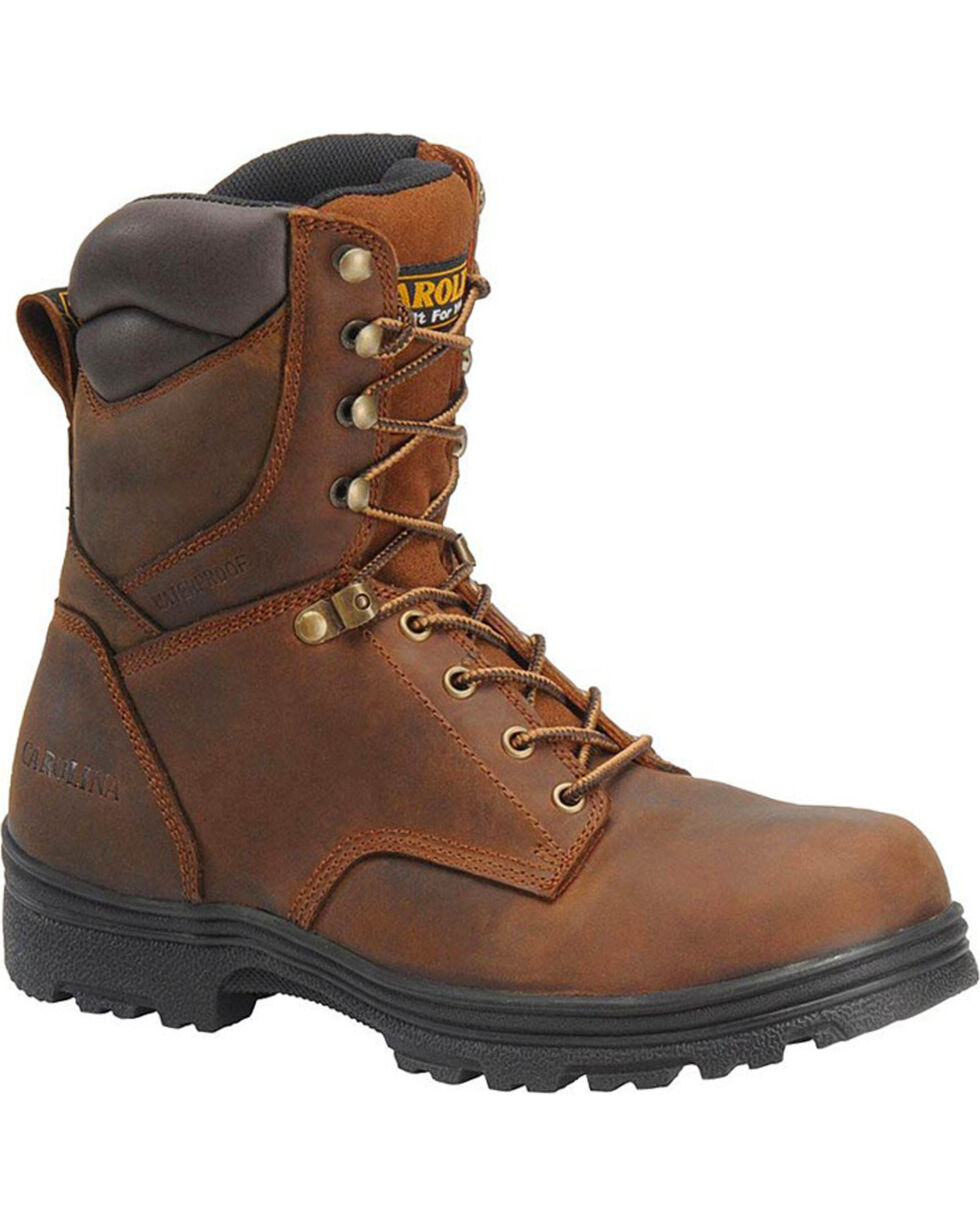 "Carolina Men's 8"" Steel Toe Waterproof Work Boots, Brown, hi-res"