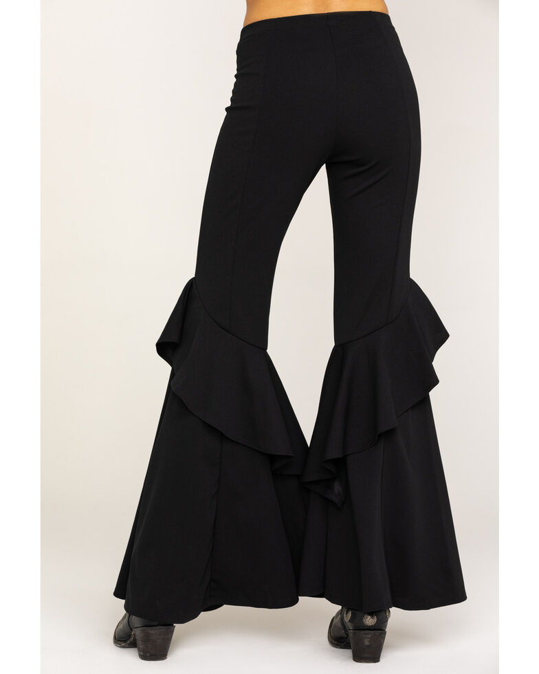 Rodeo Quincy Women's Solid Ruffle Flare Pants, Black, hi-res