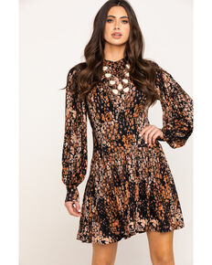 Free People Women's Abstract Print Heartbeats Mini Dress, Black, hi-res