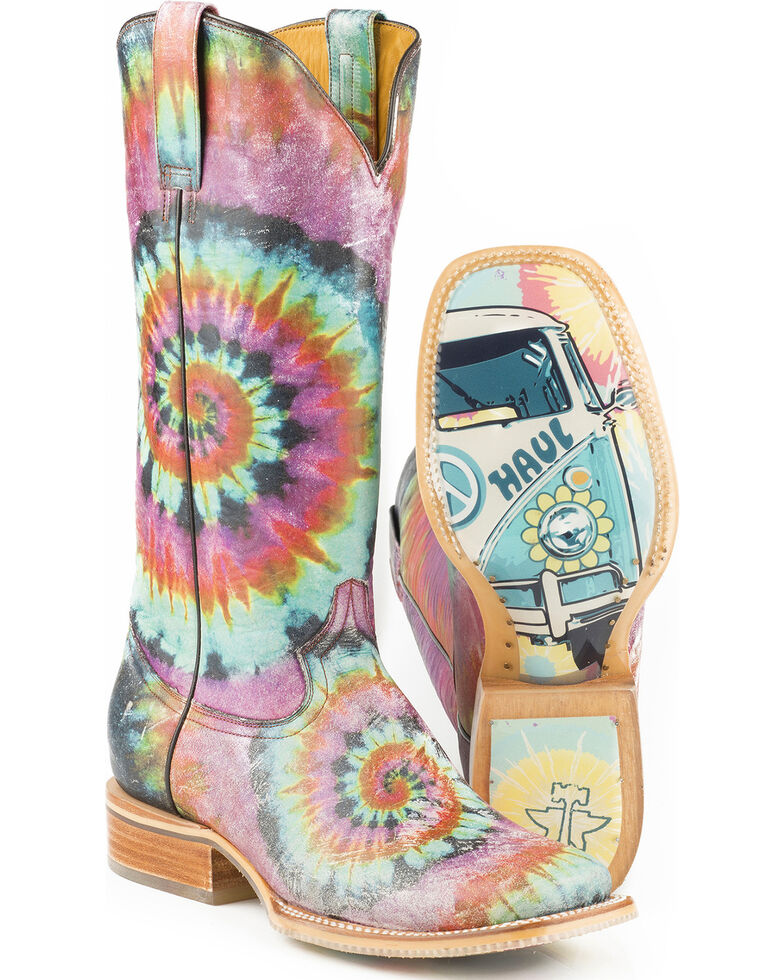Tin Haul Women's Groovy with Tie Dye Camper Sole Cowgirl Boots - Square Toe, Blue, hi-res