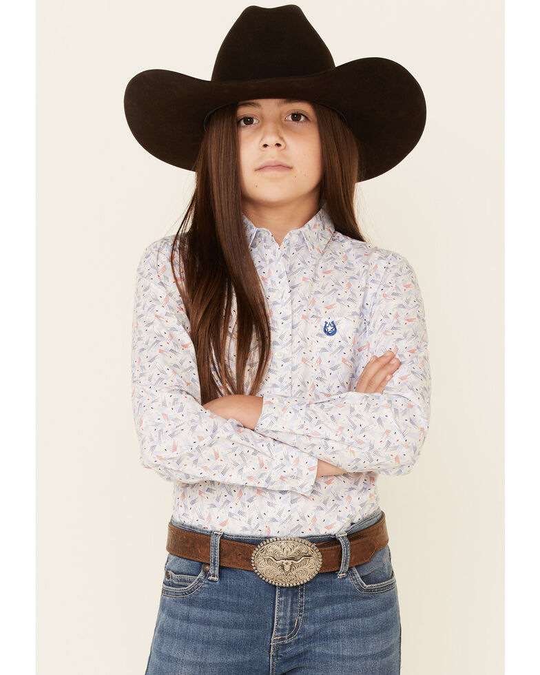 Rough Stock By Panhandle Girls' Americana Print Long Sleeve Button-Down Western Shirt , White, hi-res