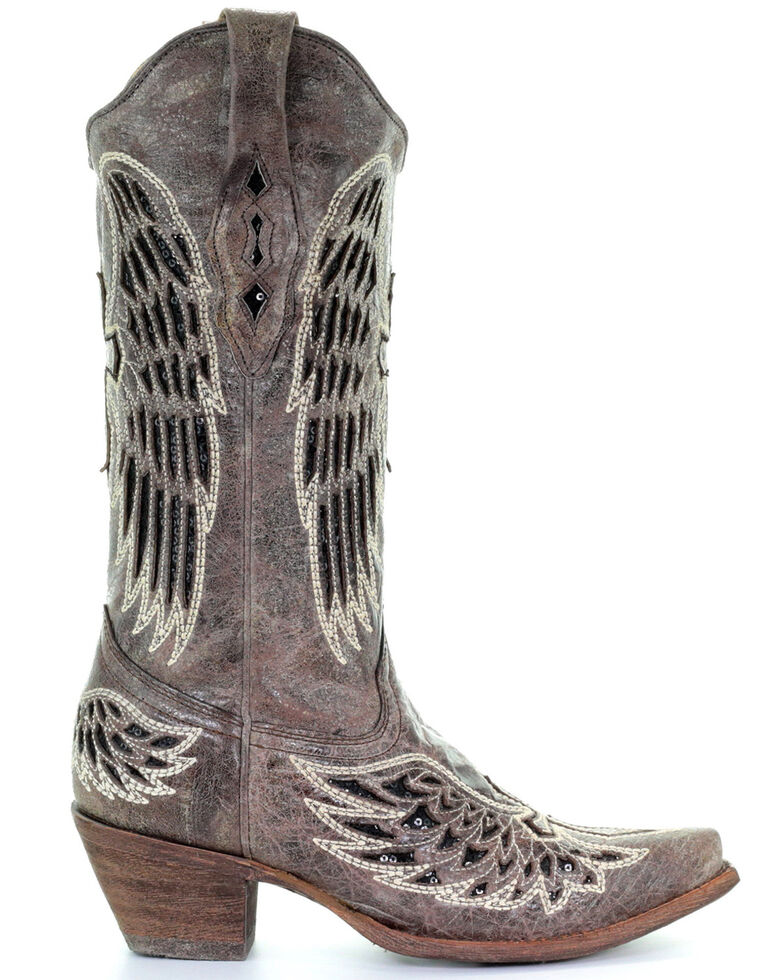 Corral Women's Wing and Cross Snip Toe Western Boots, Brown, hi-res