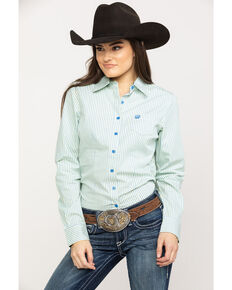 Cinch Women's Blue Stripe Button Down Long Sleeve Western Shirt , Multi, hi-res