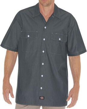 Dickies Relaxed Fit Chambray Short Sleeve Shirt - Big & Tall, Navy, hi-res