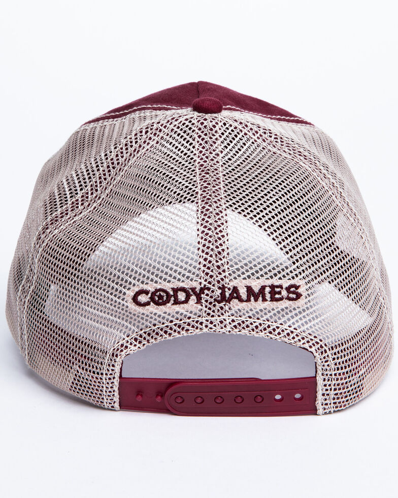 Cody James Men's Burgundy America Free Patch Mesh Ball Cap , Burgundy, hi-res
