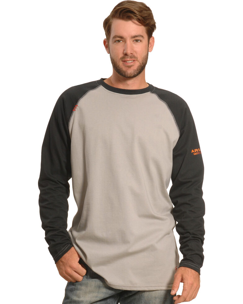 Ariat Men's FR Long Sleeve Baseball Work T-Shirt , Black, hi-res