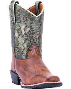 Dan Post Boys' Teddy Western Boots, Green, hi-res