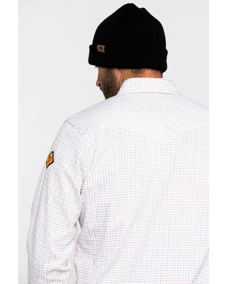 Wrangler Men's Western FR Long Sleeve Plaid Snap Shirt - Tall, White, hi-res