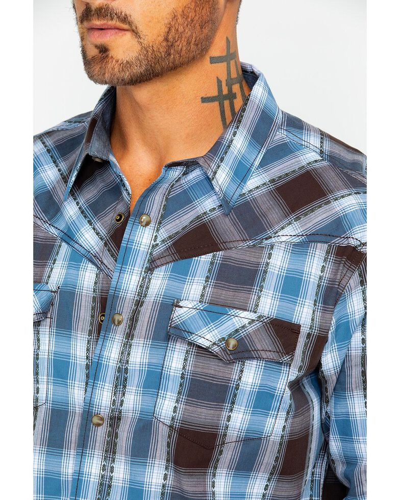 Cody James Men's Basin Dobby Plaid Long Sleeve Western Shirt, Blue, hi-res